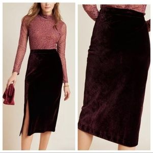 Anthropologie Maeve Velvet Midi Skirt Plum 10